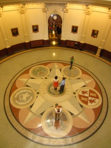 The Republic of Texas seal inside the dome of the State Capitol Building.